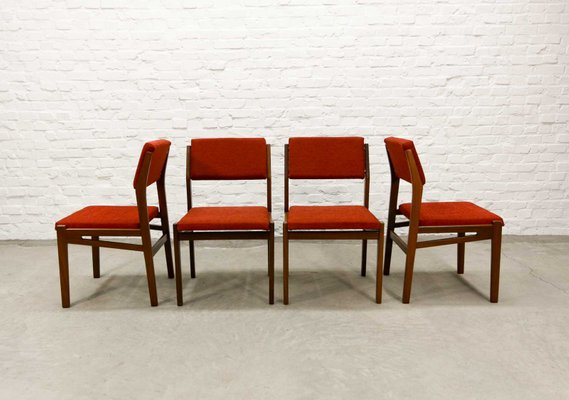 Teak And Stone Red Dining Chairs From TopForm, 1960s, Set Of 4 1
