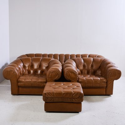 Chesterfield Leather Sofa Set, 1970s for sale at Pamono