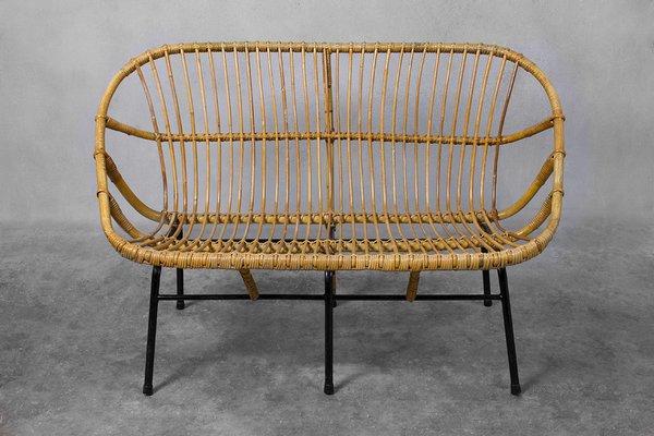 Ordinaire Wicker Sofa For Rohé Noordwolde, 1950s
