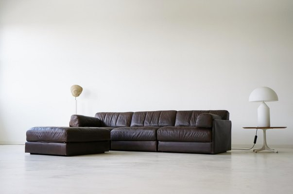 Model Ds 76 Leather 3 Seater Sofa Ottoman Set From De Sede 1975
