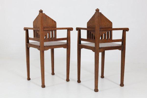 Oak Dutch Arts Crafts Corner Chairs, Arts And Crafts Furniture Style