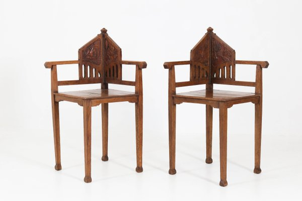 Oak Dutch Arts Crafts Corner Chairs 1900s For Sale At Pamono