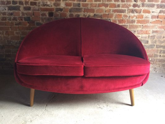 Mid-Century Two-Seater Red Curved Sofa for sale at Pamono