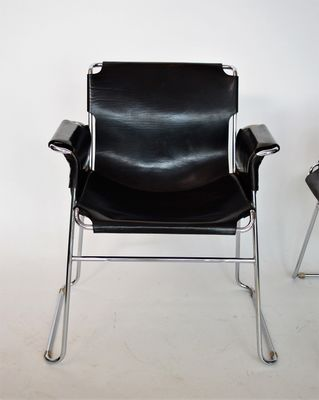 Italian Postmodern Chrome And Leather Chairs, Set Of 4 1