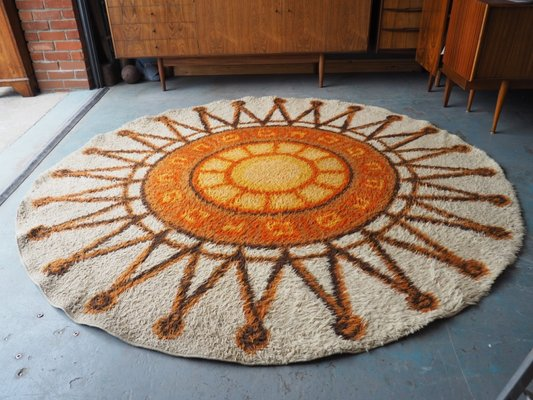 Vintage Circular Orange Cream Sunburst Rug