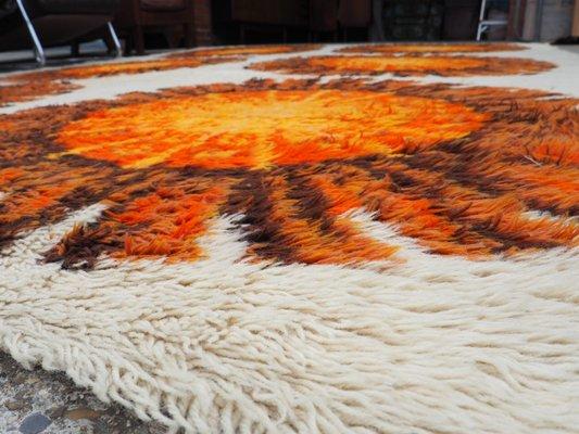 Orange Cream Fl Shag Pile Rug
