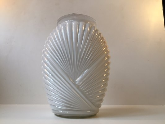 Ribbed Art Deco Vase In Cased White Opaline Glass 1930s For Sale At