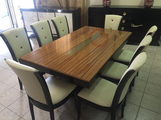 Superbe French Art Deco Zebra Wood U0026 Brass Table, ...