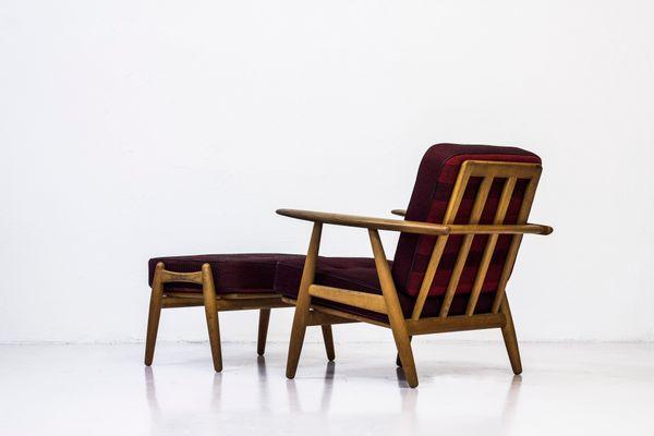 ge 240 3 cigar easy chair with ottoman by hans j wegner for getama