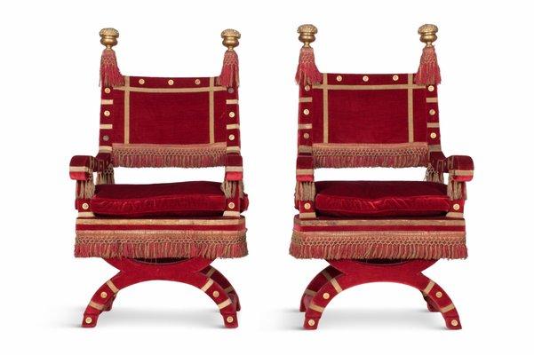 Red Velvet Throne Chairs, 1940s, Set Of 2 1