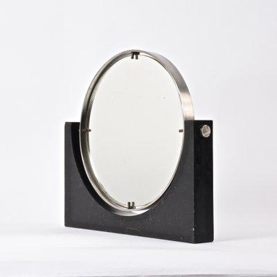 Specchio da tavolo rotondo Mid-Century moderno in marmo nero e ...