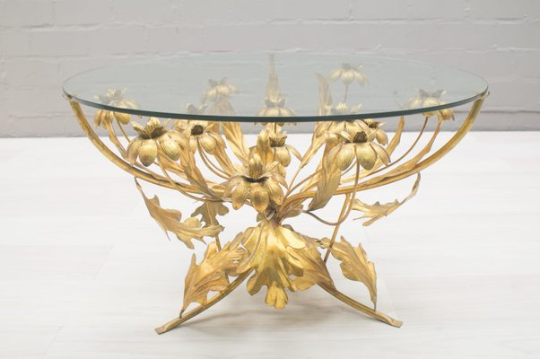 Flower Coffee Table.Florentine Metal Flower Coffee Table From Hans Kogl 1960s