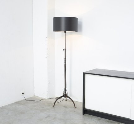 Antique Black Wrought Iron Floor Lamp For Sale At Pamono