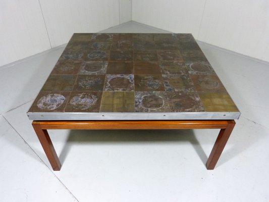 Grande Table Basse Mid Century Carree Avec Plateau Carrele En