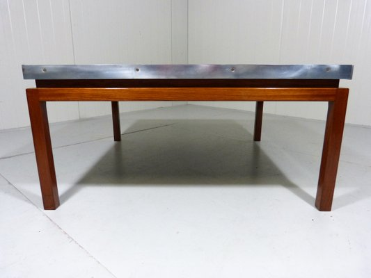 Mid Century Large Square Coffee Table With Tile Top
