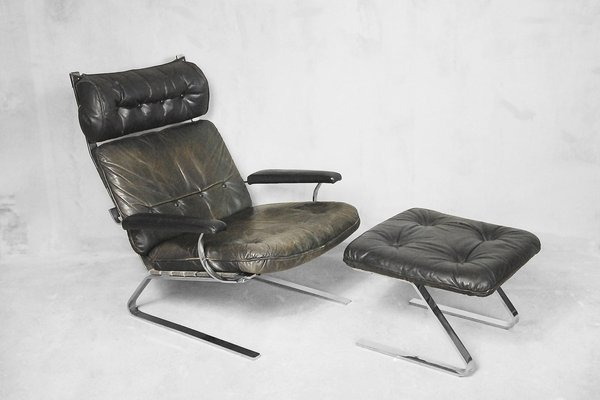 Leather Lounge Chair U0026 Ottoman By Reinhold Adolf For Cor, ...