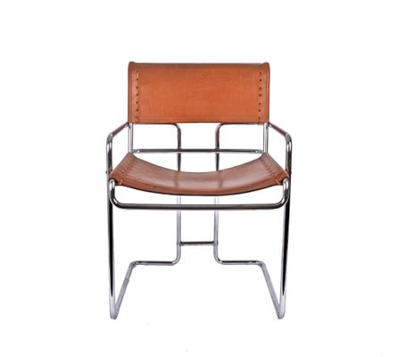 Excellent Italian Leather And Chromed Steel Chair By Guido Faleschini For I 4 Mariani 1970S Bralicious Painted Fabric Chair Ideas Braliciousco