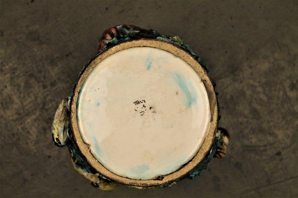Vaso mid century con animali marini di vietri per ceramica artistica