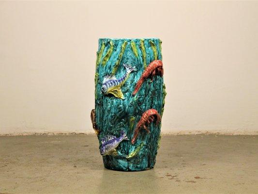 Vaso mid century con animali marini di vietri per ceramica