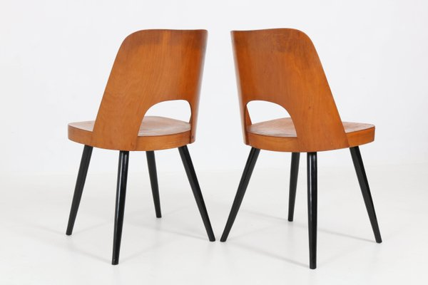 Mid Century Beech Chairs By Oswald Haerdtl For Thonet 1950s Set Of 2