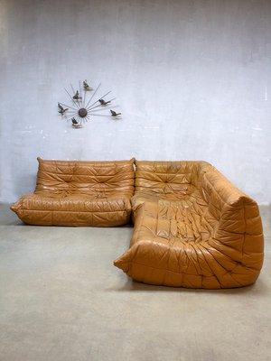 Canapé Togo Vintage En Cuir Par Michel Ducaroy Pour Ligne Roset