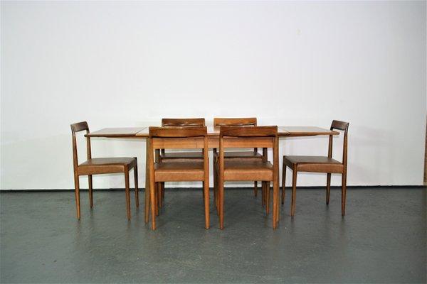 Tavolo da pranzo allungabile con sedie di Lübke, anni \'60, set di 7