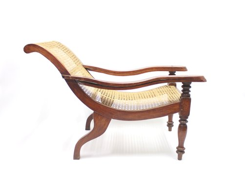 Prime Antique Burmese Colonial Recliner Chair With Rattan Seat Caraccident5 Cool Chair Designs And Ideas Caraccident5Info