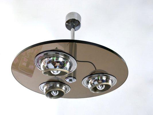 Lámpara de techo de vidrio ahumado grueso redonda, años 70 en venta ...