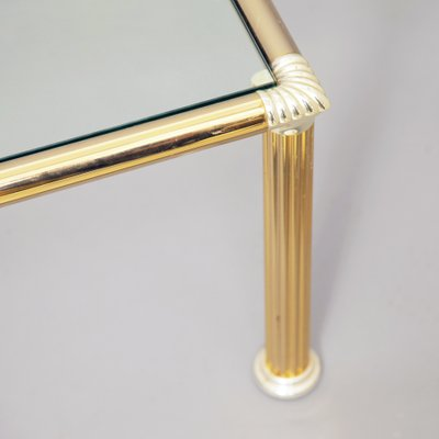 Chrome Brass Coffee Table With Column Shaped Legs 1970s For Sale At Pamono