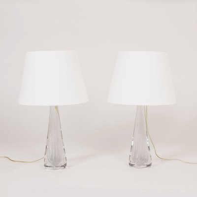 Crystal Glass Table Lamps By Vicke Lindstrand For Kosta 1950s Set Of 2 1