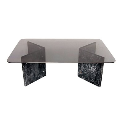 Small Black Carrara Marble Glass Coffee Table 1980s For Sale At