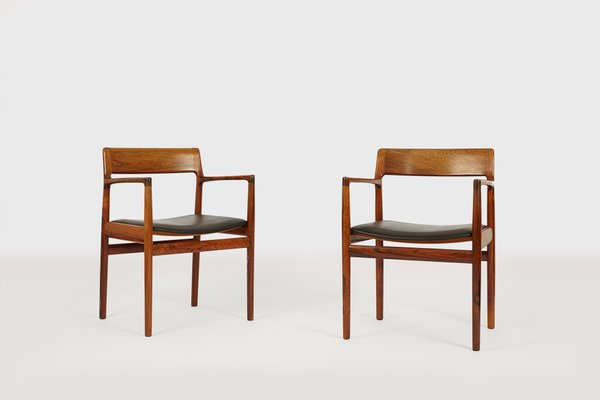 Mid Century Danish Rosewood Armchairs From Rodding Denmark Norgard Furniture  Factory, Set Of 2