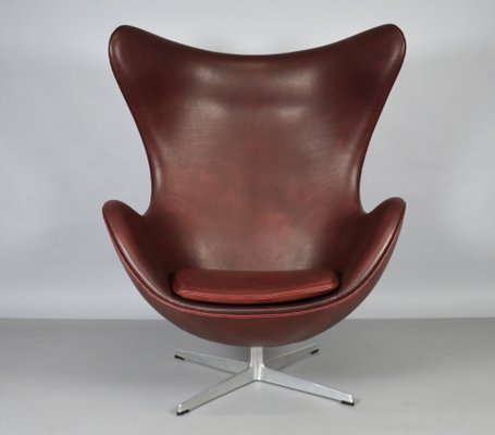 Beau Leather Egg Chair By Arne Jacobsen For Fritz Hansen, 1965 1