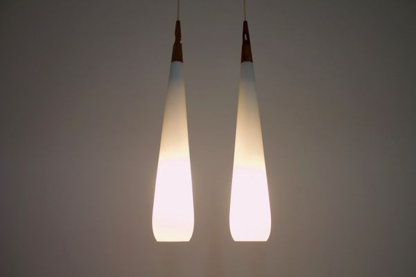 Swedish Drop Pendant Lamps By Uno Östen Kristiansson For Luxus 1960s Set Of 2