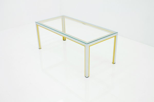 Chrome, Brass, U0026 Glass Coffee Table By Renato Zevi For Romeo Rega, 1970s