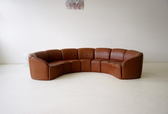 Vintage Curved Leather Sofa By Walter Knoll, 1960s 1