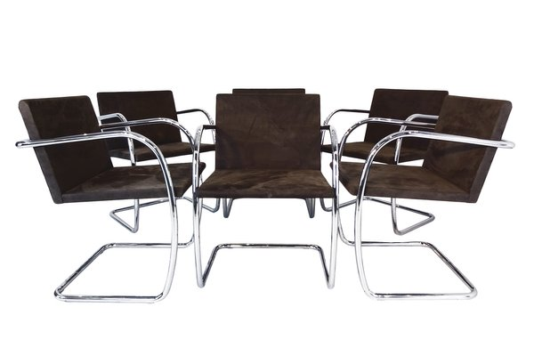 Mr50 Brno Tubular Steel Suede Chairs By Ludwig Mies Van Der Rohe