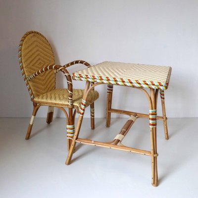 Awesome Vintage French Rattan Childrens Desk And Chair Gmtry Best Dining Table And Chair Ideas Images Gmtryco