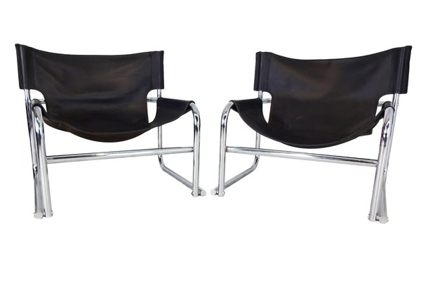 Super T1 Black Leather Sling Chairs By Rodney Kinsman For Omk 1969 Set Of 2 Uwap Interior Chair Design Uwaporg