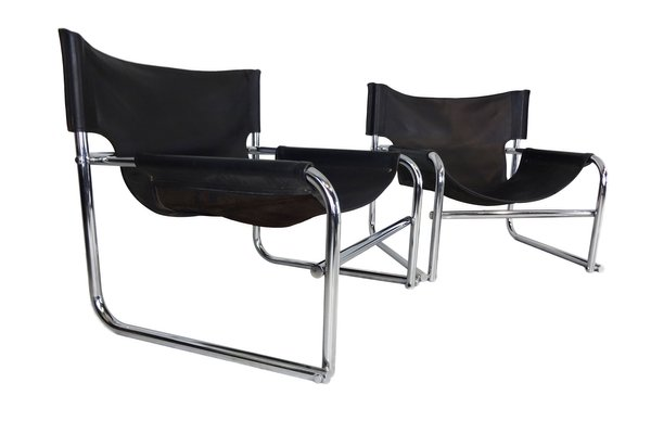 Brilliant T1 Black Leather Sling Chairs By Rodney Kinsman For Omk 1969 Set Of 2 Squirreltailoven Fun Painted Chair Ideas Images Squirreltailovenorg