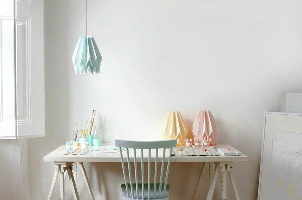 Pastel Pink Origami Lamp by Orikomi
