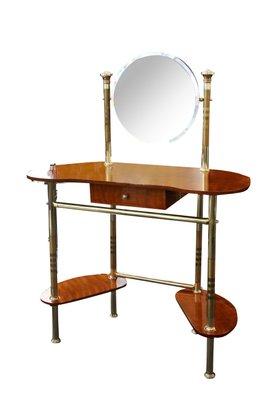 Mid Century Italian Brass U0026 Wood Dressing Table 1