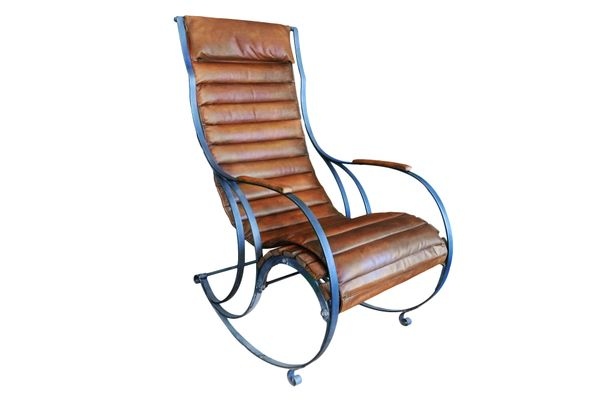 Antique Steel & Leather Rocking Chair by RW Winfield 1 - Antique Steel & Leather Rocking Chair By RW Winfield For Sale At Pamono
