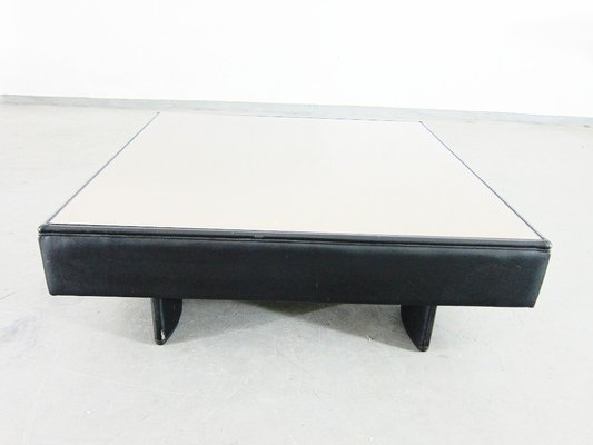 Vintage Leather And Mirrored Glass Coffee Table From Poltrona Frau, 1980s 1