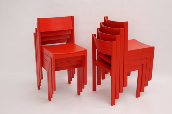 Mid Century Modern Red Dining Chairs By Carl Auböck For E A