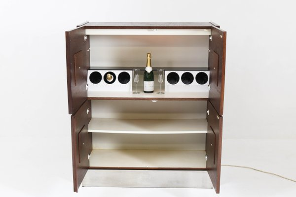 Mid Century Modern Brutalist Wenge Bar Cabinet 1970s