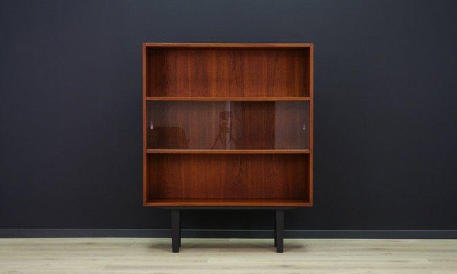Teak Veneer Bookcase With Sliding Glass Doors From Clausen U0026 Søn, ...