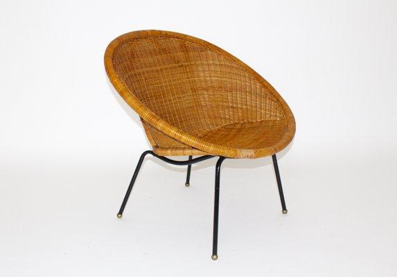 Italian Mid Century Modern Woven Rattan Chair 1950s 1