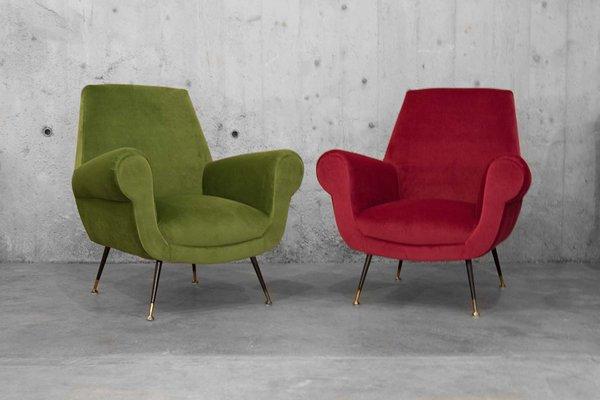 Italian Velvet Armchairs, 1950s, Set Of 2 1
