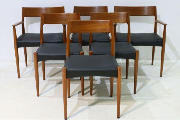 Set di sedie da pranzo e sedie con braccioli mid century in